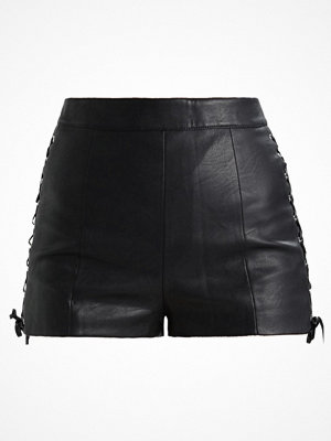 Topshop LACE UP SIDE SHORT Tygbyxor black