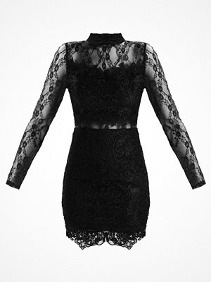 Missguided LACE HIGH NECK MINI WITH SHEER LACE INSERTS Cocktailklänning black