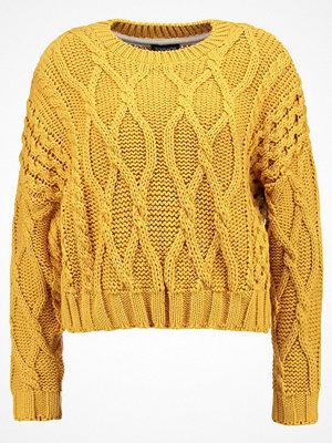 Topshop CROP CABLE Stickad tröja mustard