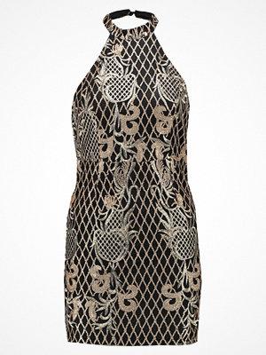 Missguided Petite HALTER NECK DRESS Cocktailklänning black/gold