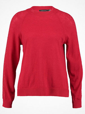 Cortefiel CREW NECK JUMPER WITH BAND AND STRASS DETAILS IN SLEEVES Stickad tröja red