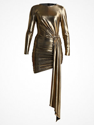 Missguided LONG SLEEVE TIE SIDE RUCHED DETAIL BODYCON MINI DRESS Cocktailklänning gold