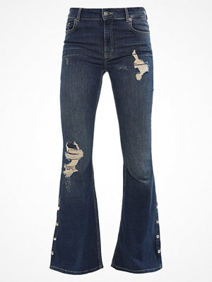 Jaded London LOW RISE POPPER SIDE CALF DETAIL  Flared jeans blue