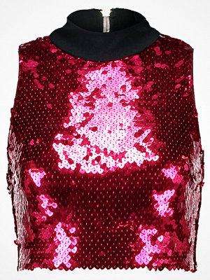 Jaded London HIGH NECK CROP WITH EXPOSED BACK ZIP IN HEART SEQUIN Linne red