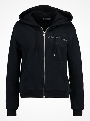 Street & luvtröjor - Calvin Klein Jeans HOLT HOODED ZIP THRU Sweatshirt black beauty