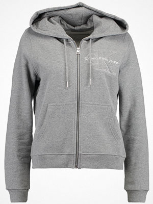 Street & luvtröjor - Calvin Klein Jeans HOLT HOODED ZIP THRU Sweatshirt light grey heather