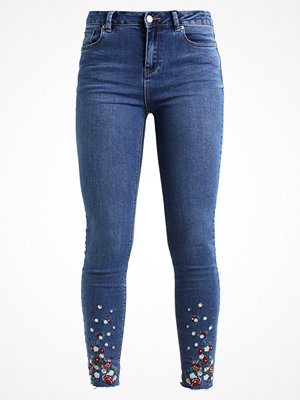 New Look EMBROIDERED FLORAL SKINNY Jeans Skinny Fit mid blue