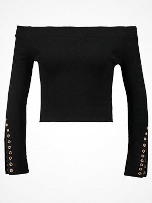 Topshop EYELET SLEEVE BARDOT Stickad tröja black