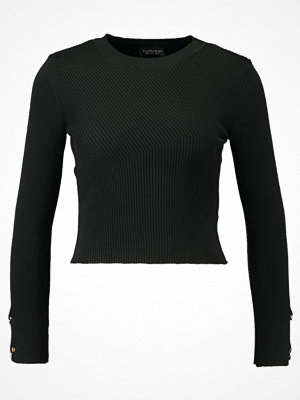 Topshop RING SLEEVE CROP Stickad tröja black
