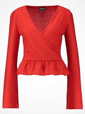 Topshop FRILL HEM Stickad tröja red