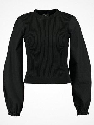 Topshop EXAGGERATED SLEEVE HYBRID Stickad tröja black