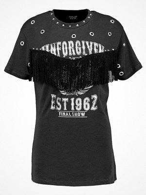 Topshop UNFORGIVEN FRINGE T Tshirt med tryck washed black