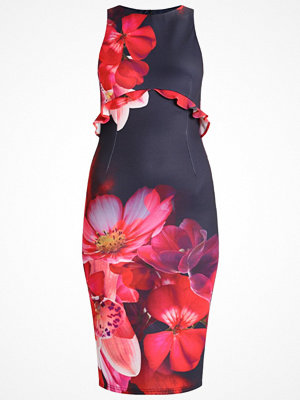 True Violet TRUE VIOLET MIDI DRESS WITH WAIST FRILL Jerseyklänning navy/red floral