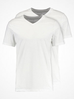 Jack & Jones JORDOUBLE TEE VNECK 2PACK SLIM FIT Tshirt bas white