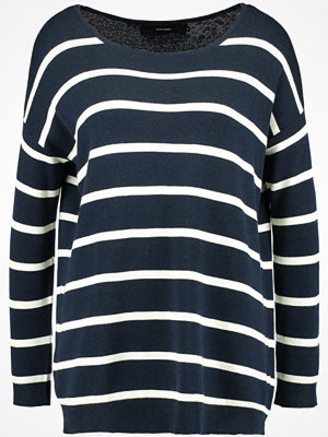 Vero Moda VMDOTTY NEW BOATNECK Stickad tröja navy blazer/eggnog