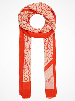 Halsdukar & scarves - Calvin Klein ALLOVER LOGO SCARF Halsduk orange