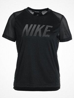 Nike Performance DRY MILER  Tshirt med tryck black/white/reflective silver