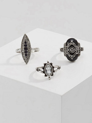 Topshop DECO 3 PACK Ringar crystal/black