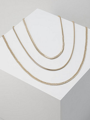 Topshop MIX CHAIN CHUNK 3PACK Halsband goldcoloured