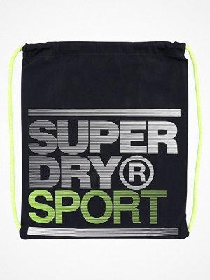 Sport & träningsväskor - Superdry DRAWSTRING BAG Sportväska navy/fluro lime