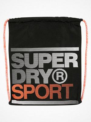 Sport & träningsväskor - Superdry DRAWSTRING BAG Sportväska black/fluro orange