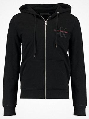 Street & luvtröjor - Calvin Klein Jeans HOMER ZIP THRU SLIM FIT Sweatshirt black