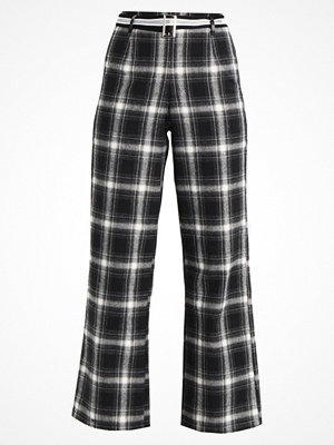 Missguided CHECK TIE WAIST WIDE LEG TROUSERS  Tygbyxor black rutiga