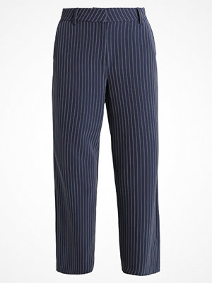 Only ONLMIKA PINSTRIPE WIDE PANTS Tygbyxor blue nights marinblå randiga