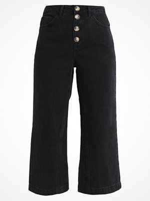 Topshop BUTTON AWK CROP Flared jeans black