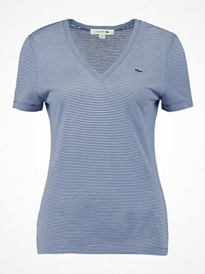 Lacoste STRIPE V NECK TEE Tshirt med tryck electric/vanilla plant