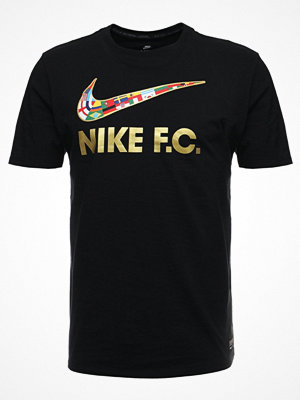 T-shirts - Nike Sportswear TEE SWSH FLAG Tshirt med tryck black/metallic gold