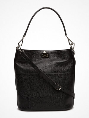 Decadent svart axelväska Big Bucket Bag W/Buckle