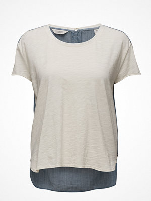 Scotch & Soda S/S Jersey Tee With Woven Back Panel And Zip At Cb