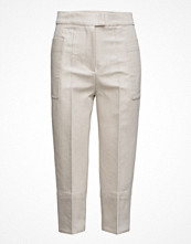 Mango Cropped Linen-Blend Trousers