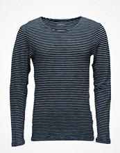 Knowledge Cotton Apparel Yarndyed Striped Indigo Long Sleeve