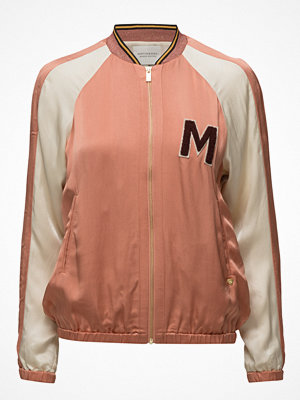 Scotch & Soda Colourblocked Satin Bomber Jacket With Chest Badge
