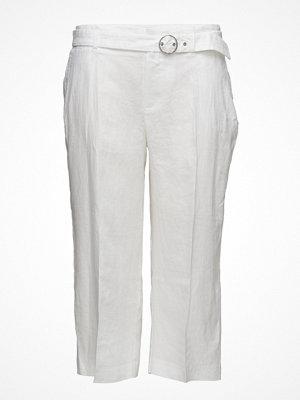 Violeta by Mango Cropped Linen-Blend Trousers