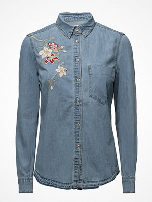 Skjortor - Mango Embroidered Denim Shirt