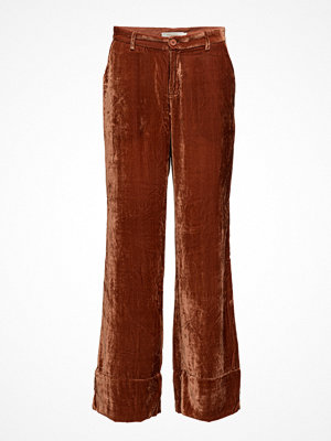Rabens Saloner bruna byxor Soft Velvet Wide Pants