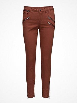 Saint Tropez mörkröda byxor Stretch Pants With Zippers