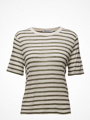T-shirts - T By Alexander Wang Rayon Linen Stripe Shortsleeve Cropped Tee