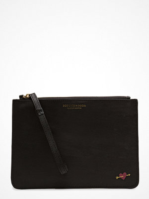 Scotch & Soda svart kuvertväska Leather Clutch In Various Combos, Sold In A Canvas Bag