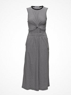 T By Alexander Wang Stripe Cotton Jersey Front Twist Muscle Dress
