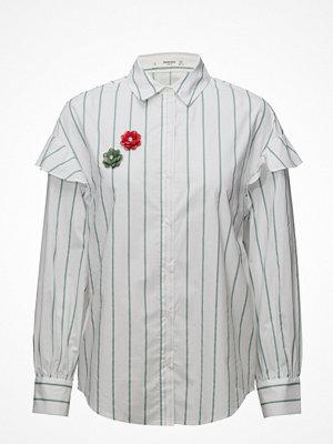 Mango Brooch Clasp Striped Shirt