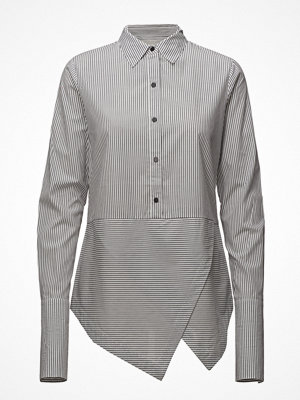 Scotch & Soda Cotton Shirt With Angled Hem And Press Button Detail