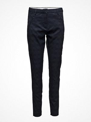 Fiveunits svarta mönstrade byxor Angelie 318 Navy Grid, Pants