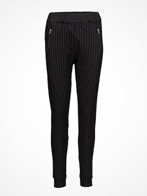 2nd One svarta randiga byxor Miley 888 Zip, Silver Pins Shine, Pants