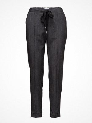 Mango mörkgrå randiga byxor Belt Baggy Trousers