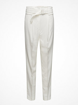 Mango vita byxor Belt Wool Trousers