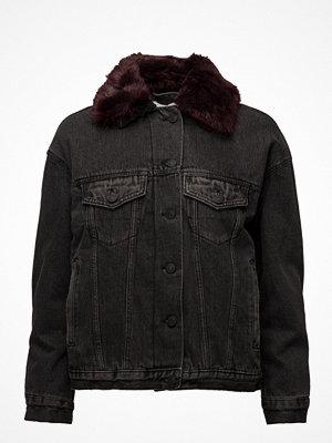 Jeansjackor - Mango Faux Fur Neck Denim Jacket